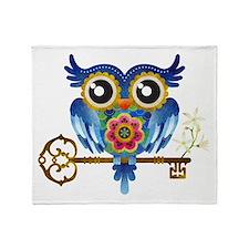 Owl on Skeleton Key Throw Blanket