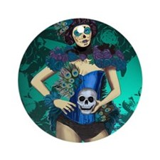 Peacock - dia de los muertos Pin-up Round Ornament