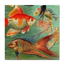 Vintage Colorful Tropical Fish Tile Coaster