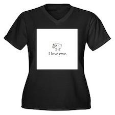 I Love Ewe Women's Plus Size V-Neck Dark T-Shirt