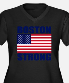 Boston Stron Women's Plus Size Dark V-Neck T-Shirt