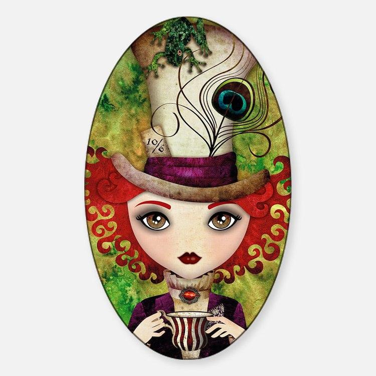 Lady Hatter Sticker (Oval)