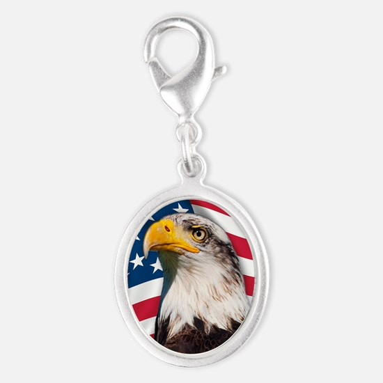 USA flag with bald eagle Silver Oval Charm