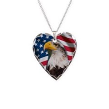 USA flag with bald eagle Necklace