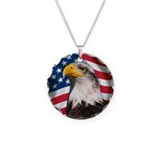 USA flag with bald eagle Necklace