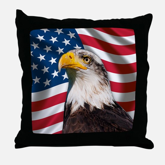 USA flag with bald eagle Throw Pillow