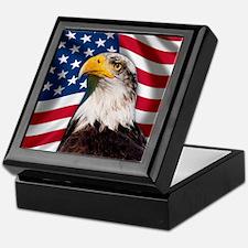 USA flag with bald eagle Keepsake Box