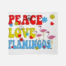 PEACE LOVE FLAMINGOS Throw Blanket