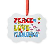 PEACE LOVE FLAMINGOS Picture Ornament