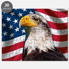 USA flag with bald eagle Puzzle