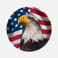 USA flag with bald eagle Round Ornament