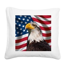 USA flag with bald eagle Square Canvas Pillow