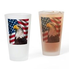 USA flag with bald eagle Drinking Glass