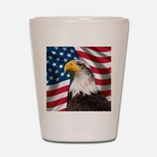USA flag with bald eagle Shot Glass