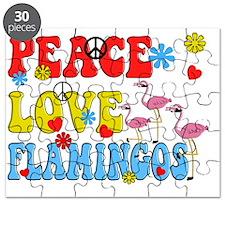 PEACE LOVE FLAMINGOS Puzzle