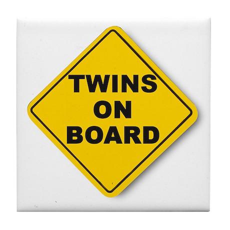Twins on board Tile Coaster