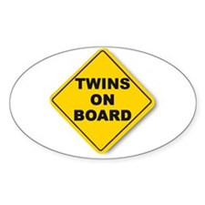 Twins on board Oval Decal