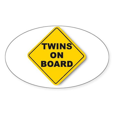 Twins on board Oval Sticker