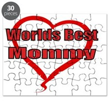 Worlds best mommy  with heart outline Puzzle