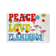 PEACE LOVE FLAMINGOS Rectangle Magnet