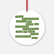 John 3:16 - Classic Green Round Ornament