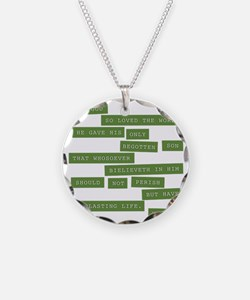 John 3:16 - Classic Green Necklace
