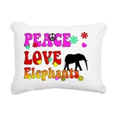 peace love elephants 2 Rectangular Canvas Pillow