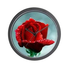 Red rose and raindrops Wall Clock