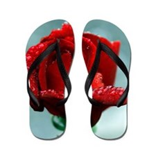 Red rose and raindrops Flip Flops