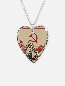Soviet vintage propaganda Necklace Heart Charm