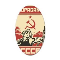 Soviet vintage propaganda 35x21 Oval Wall Decal