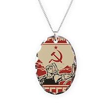 Soviet vintage propaganda Necklace Oval Charm