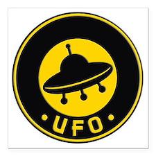 """UFO scifi vintage Square Car Magnet 3"""" x 3"""""""