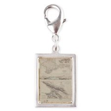Antique maps of Caucasus and Silver Portrait Charm