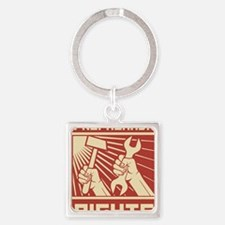 Rights Workers Propaganda Square Keychain