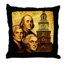 Founding fathers in front of the Decl Throw Pillow