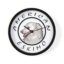 american eskimo b/w Wall Clock