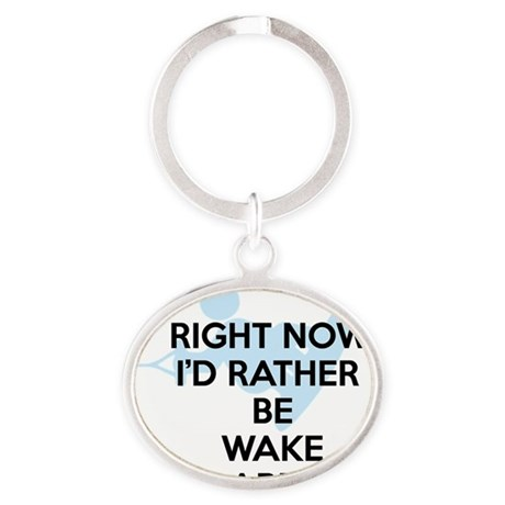 Rather be wakeboarding Oval Keychain