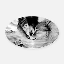 Wolves Oval Car Magnet