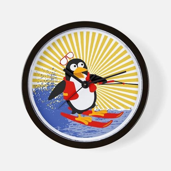 Penguin Water-Skiing Wall Clock
