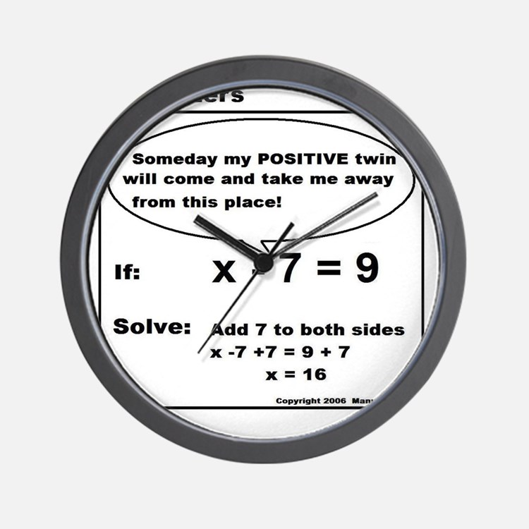 ADD TO BOTH SIDES OF EQUATION Wall Clock