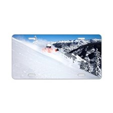 A skier rips fresh powder t Aluminum License Plate