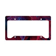 Close-up of frosted red maple License Plate Holder