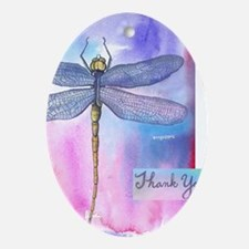 Dragonfly Thank You Oval Ornament