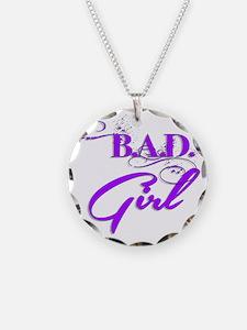 Purple Bad Girl logo Necklace