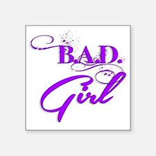 "Purple Bad Girl logo Square Sticker 3"" x 3"""