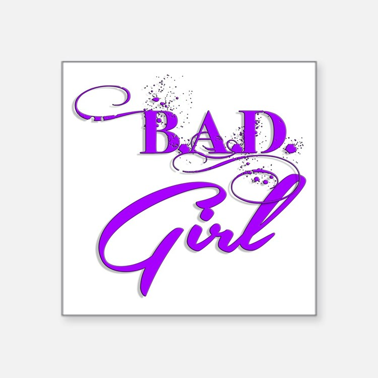 "Purple Bad Girl logo Square Sticker 3"" x 3"""