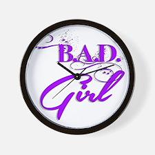 Purple Bad Girl logo Wall Clock
