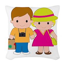Couple Travel Woven Throw Pillow