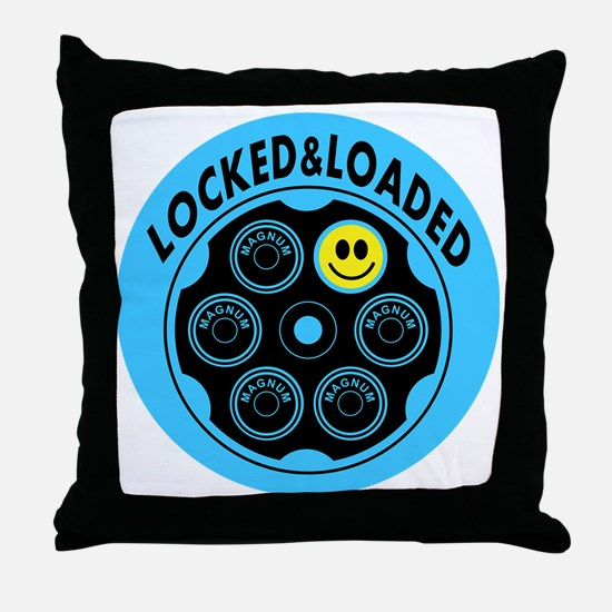 Locked and Loaded Smiley Bullets Throw Pillow
